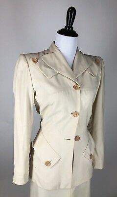Incredible! VTG 1940s Gilbert Adrian Structured Slim Ivory Wool Skirt Suit XS