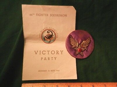 Ww Ii Us 64Th Fighter Squadron Victory Party Menu & Rare Theater Bullion Patch