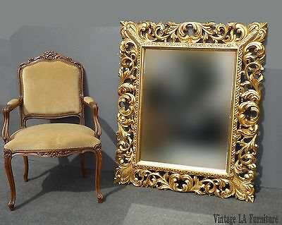 Large Vintage French Rococo Scrolls & Flourishes Gold Ornate Wall MANTLE MIRROR