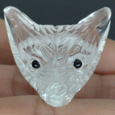 Howling Wolf Clean Quartz Gemstone Animal Pendant Hand Carved Stone Necklace