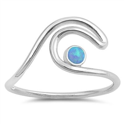 STERLING SILVER 925 Lab Opal Wave Crest Surf Beach Ring Size 4 5 / H J