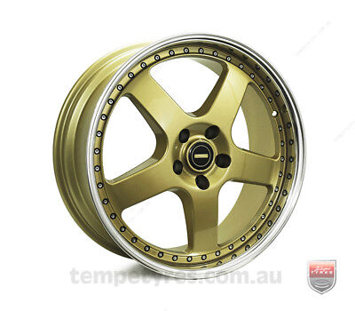 FORD MUSTANG WHEELS PACKAGE: 20x8.5 20x9.5 Simmons FR-1 Gold and Continental Tyr