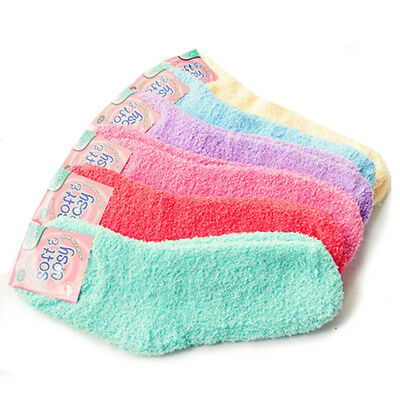 (6 Pairs) Women's Fuzzy Crew Soft Socks Winter Warm Solid Color
