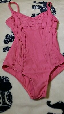 pink, wear moi camisole leotard, rouche detailing, xs, new without tag