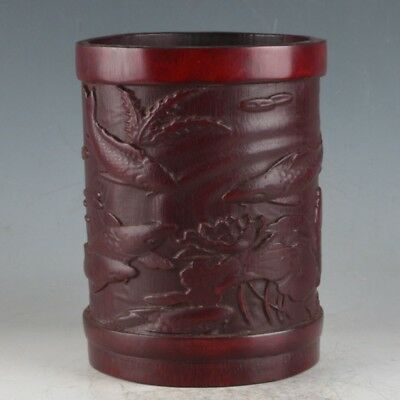 Chinese Bamboo Pole Hand Carved Fish Brush Pot DY552