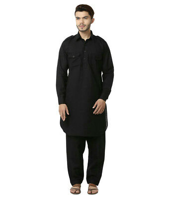 Indian Traditional Bollywood Black Kurta Pajama New Man,s Casual Ethnic Wear.