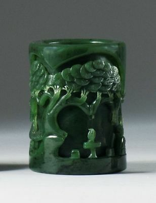 A035 antique Estate Spinach green jade brush pot, 19/20th Century