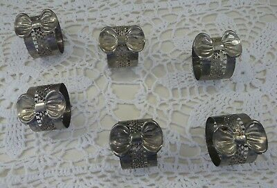 6 x Vintage Retro Silver Plated Bow & Latticework Napkin Rings/Serviette Holders