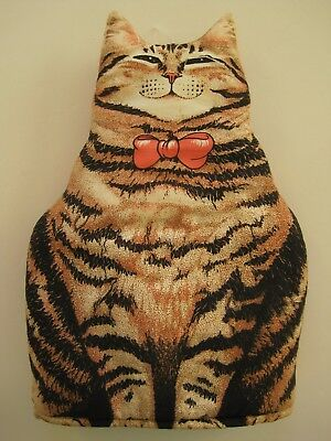 "Vintage Fabric Striped Tabby Cat Coffee Tea Cozy SARI Made in England 10"" x 14"""