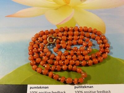Antique Indo Nepali Natural Red Coral Bead Strand 21 Inch Necklace