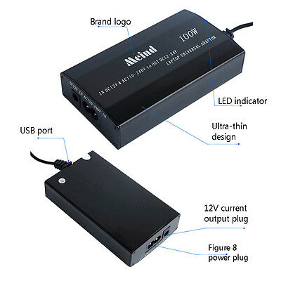 Notebook AC Adapter Power For Laptop Car DC Charger Supply Meind Universal 100W