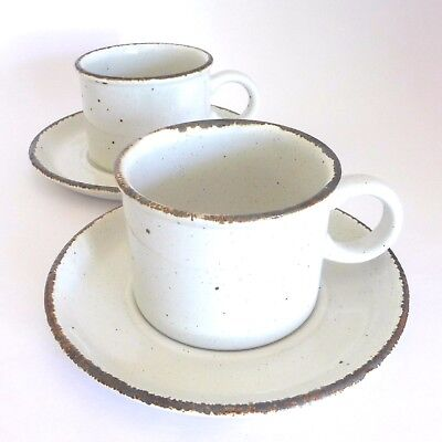 2 1970s MIDWINTER Stonehenge CREATION Duos Stoneware Pottery Cups & Saucers