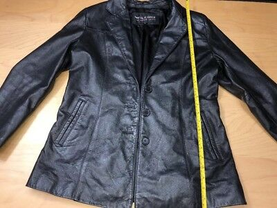 Wilson Men's Black Leather Coat Button Up Jacket Polyester Lining Size Large M