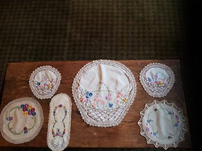 vintage embroided doilies x6