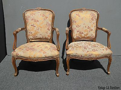 Pair Vintage French Provincial Carved Wood Gold Floral Accent Arm Chairs