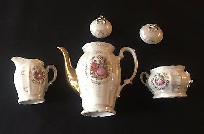 COLLECTABLE Courting Couple Japan Coffee/Tea Pot, Milk Jug, Sugar Bowl BARGAIN