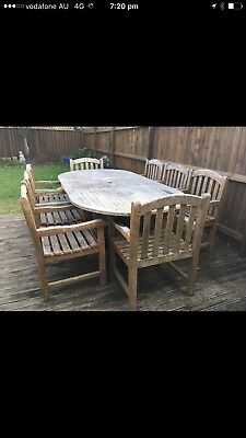Outdoor Teak Setting 8 Chairs Solid Solid Set Can Ship Interstate AIRTASKER