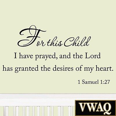 For This Child I Have Prayed Nursery Wall Quotes Babys Room Nursery Decor #2