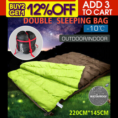 -10°C Double Outdoor Camping Sleeping Bag Hiking Thermal Winter 220x145cm