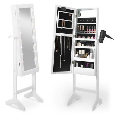 White LED Free Standing Full Length Mirror Cabinet Make Up Jewellery Storage