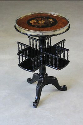 Antique Victorian Ebonised Marquetry Book Occasional Side Table