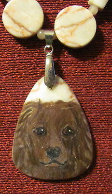 Boykin Spaniel hand painted on Redline Marble pendant/bead/necklace
