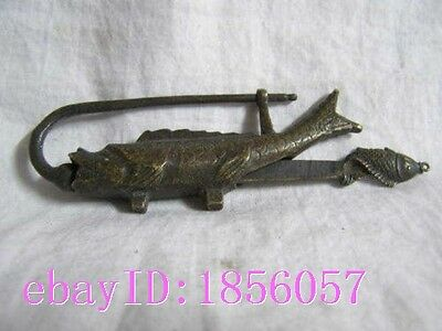 7.6 cm * / Rare old brass sculpture in China can use fish locks and keys