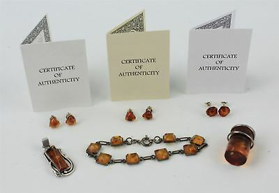 Collection of Mixed STERLING SILVER Amber Stone Jewellery Pendants, Bracelet