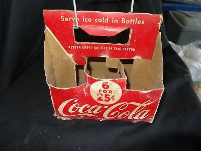 Coca Cola Cardboard six pack with wire handle