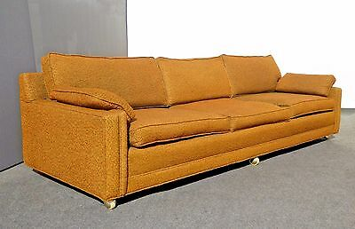 Vintage Mid Century Modern Long Gold SOFA Couch on Castors