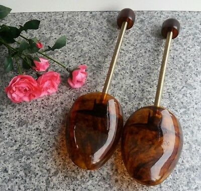 Vintage Shoe Trees Stretchers Normalspitz Tortoise Shell Plastic Made in Germany