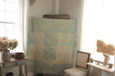 Antique French linens sheet indigo blue PRIMITIVE dyed 1850 67 inches by 57 inch