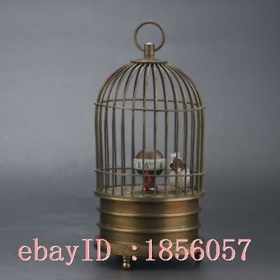 Collectible Old Chinese Brass Handwork Birdcage Mechanical Clock NR