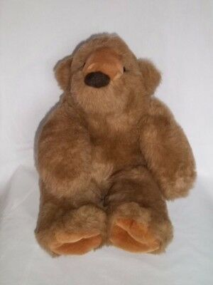 "RUSS BERRIE 14"" Plush FOREST BEAR Brown Teddy Vintage Sitting Stuffed Animal"