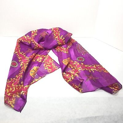 Vintage Women's Glentex Hot Pink Purple Oblong Scarf  Wrap 18 x 64.5