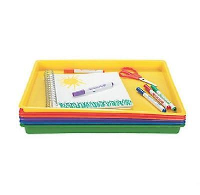 """Set of 6 Arts & Crafts Easy Clean Flat Trays in Assorted Colors 16"""" x 12"""" x 1"""""""