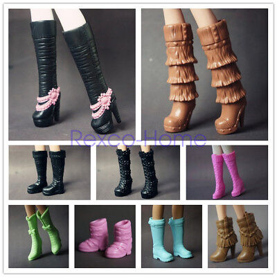 5 Pair Mix Style Long Boots Casual High Heel Shoes Clothes for Barbie Doll