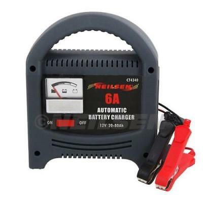 Heavy Duty 6A Amp 12V 6V Battery Charger Trickle Booster Car Vehicle 0-80Ah