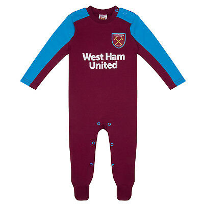West Ham United FC Official Soccer Gift Home Kit Baby Sleepsuit