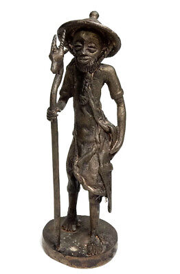 Rare Antique African Tribal Cast Bronze Burkina Faso tall sculpture -Traveler 2