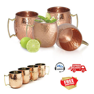 Handmade Pure Copper Moscow Mule Mug 16 Oz, Hammered Brass Handles - Set of 4