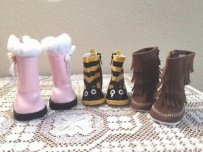 """NEW-DOLL BOOTS [3 Pairs] fit 18"""" Doll such as American Girl Dolls - Lot #297"""