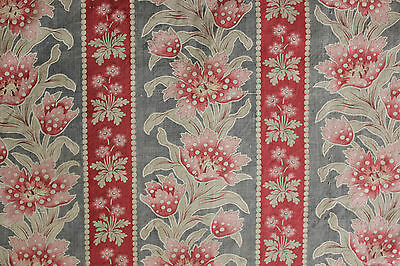 Antique French Art Nouveau floral and stripe fabric gray ground ~ red ~ printed