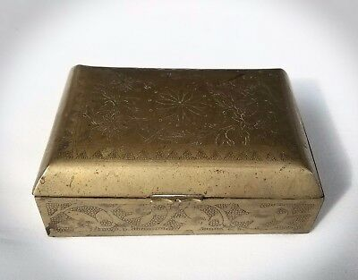 Antique Chinese Etched  Brass Footed Trinket/Dresser Box