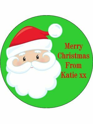 30-90 UNCUT PERSONALISED EDIBLE WAFER CUP CAKE TOPPERS FATHER CHRISTMAS SLEIGH