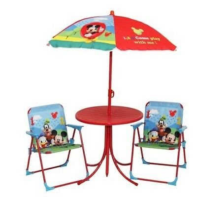 Children Mickey Mouse Outdoor Patio Set, Kids Table & Folding Chairs Garden