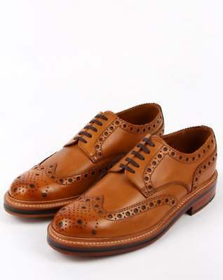 Grenson Archie Gibson Brogues in Tan Calf Leather - brown, leather sole