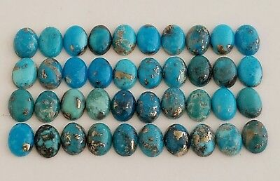 40 Oval Shaped 100% Genuine Persian Turquoise Cabochons 8x6mm