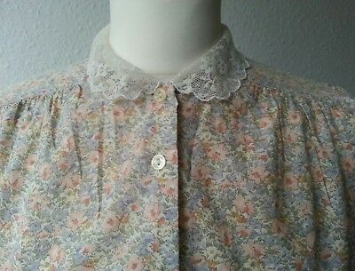 true vintage floral blouse with lace collar 34 36