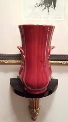 Vintage Art Deco Shorter & Sons Ribbed Acanthus Vase Red 649 S/S Stoke England